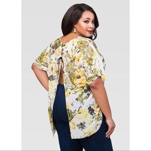 Sheer Split Back Floral Blouse Size 18/20